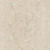 Papel De Parede Floral- Bege & Off White- 1000X52Cm