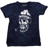 Camiseta Longline Stoned Estonada Old Skull Masculina - Masculino-Marinho