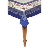 Toalha De Mesa Kacyumara Casa K Olímpia 150X320Cm Branca/Azul