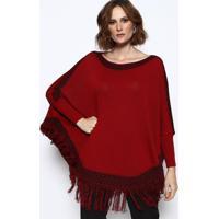 Blusa Em Tricã´ Com Franja- Vermelha & Preta- Vip Resvip Reserva