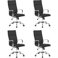 Conjunto Com 4 Cadeiras De Escritório Confort Presidente Preto