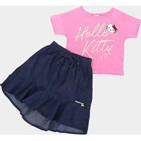 Conjunto Infantil Hello Kitty Blusa E Saia Jeans Feminino - Feminino-Rosa