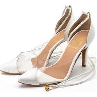 Sapato Feminino Scarpin Salto Alto Em Napa Branca Com Transparência