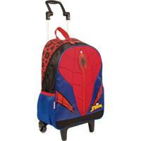 Mochila Infantil Sestini Spiderman 19Y Com Rodinhas - Masculino-Vermelho