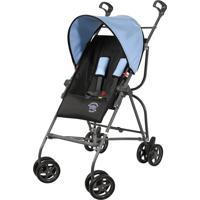 Carrinho De Bebê Capri Preto/Azul Assento Reclinável - Galzerano