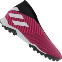 Chuteira Society Adidas Nemeziz 19.3 Laceless Tf - Adulto - Rosa/Branco