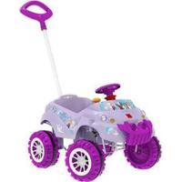 Carrinho De Passeio Infantil Baby Cross Frozen Disney Com Pedal Com Empurrador - Feminino-Lilás