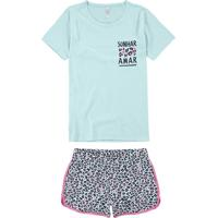 Pijama Azul Animal Print Puff