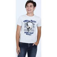 Camiseta Juvenil Estampa Caveira Manga Curta Marisa