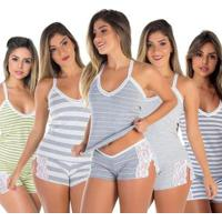 Baby Doll Renda Grécia Kit 5 Algodão - Feminino-Cinza