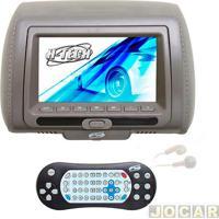"""Encosto De Cabeça Com Monitor - H-Tech - Com Tela De 7"""" Led, Leitor De Dvd, Mp3, Mp4, Mp5 E Controle - Cinza - Cada (Unidade) - Ht-Edv03"""