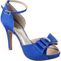 Sandália Spaço Criativo Com Laço E Strass Ocean - Feminino-Azul