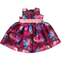 Vestido Gira Baby Kids Floral Vinho