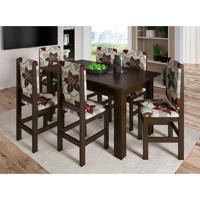 Conjunto De Mesa Com 6 Cadeiras Pioneiro Tabaco E Floral