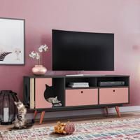 Rack Retrô Pet Angora Grafite E Rose 136 Cm