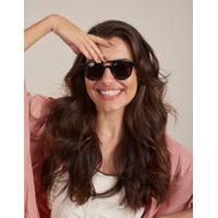 Óculos De Sol Arredondado - Preto U