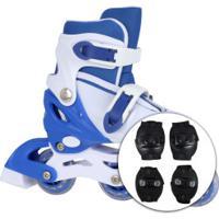Kit Patins Spin Roller: Patins 3 Rodas Ajustável + 2 Joelheiras + 2 Cotoveleiras - Infantil - Azul/Branco