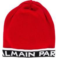 Balmain Kids Knitted Beanie Hat - Vermelho