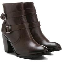 Bota Couro Cano Curto Shoestock Fivelas - Feminino-Marrom