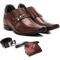 Sapato Social Rafarillo Com Cinto Meia E Calçadeira Kit 4 Em 1 - Masculino-Marrom