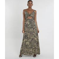 Vestido Feminino Mindset Longo Estampado Animal Print Com Fenda Bege