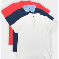 Kit C/ 3 Camisas Polos John Taylor Masculina - Masculino-Off White