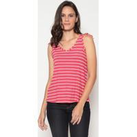 Blusa Listrada Com Amarrações - Vermelha & Brancamalwee