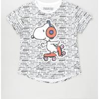 Blusa Juvenil Snoopy Estampada Manga Curta Off White