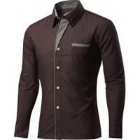 Camisa Slim Fit Detail - Marrom