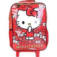 Mochila Infantil Escolar Hello Kitty Bow Bow Xeryus Com Rodinhas - Feminino-Vermelho