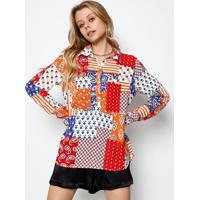 Camisa Floral Com Bolso - Vermelha & Branca- Ahaaha