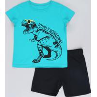 Conjunto Infantil Dinossauro De Camiseta Manga Curta Verde + Bermuda Em Moletom Preta