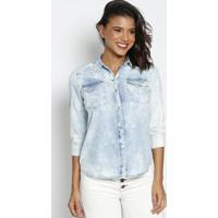 Camisa Jeans Estonada Com Botões - Azul Claro - Thipthipton