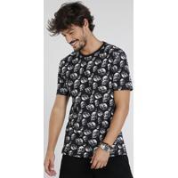 Camiseta Masculina Estampada De Caveiras Manga Curta Gola Careca Preta