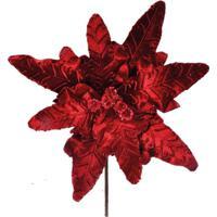 Flor Decoraã§Ã£O Natalina Com Glitter Vinho Plã¡Stico 30X24 Cm - Vermelho - Dafiti
