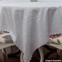 Toalha De Mesa Impermeável De Poliéster Jacquard Branca 170X220Cm - 24897