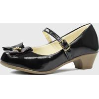 Sapato De Salto Pópidí Menina Laço Preto