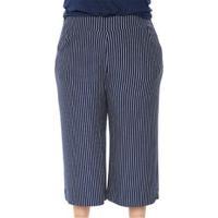 Calça Pantacourt Plus Size Moletinho Listrada Feminina - Feminino