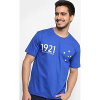 Camiseta Cruzeiro Nasce O Futebol 1921 Masculina - Masculino-Azul
