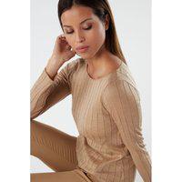 Blusa Em Lã E Seda Canelada Decote Em Barco - Marrom G