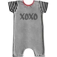 Macacão Infantil Curto Comfy Xoxo - Unissex-Cinza