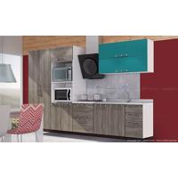 Cozinha Modulada Completa Com 6 Módulos Branco/Rústico/Verde - Art In Móveis