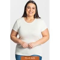 Blusa Visco Tricot Feminina Plus Bege