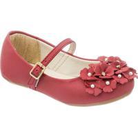 Sapato Boneca Com Flores - Vermelho Escuro- Luluzinluluzinha