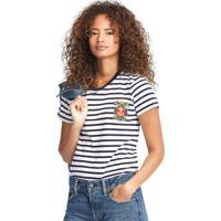 Camiseta Polo Ralph Lauren Reta Stripe Azul-Marinho/Branca