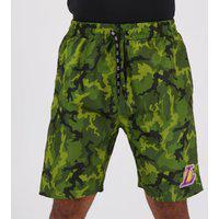 Bermuda Nba Los Angeles Lakers Camuflada Verde