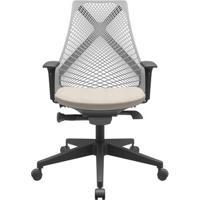 Cadeira Office Bix Tela Cinza Assento Poliéster Fendi Autocompensador Base Piramidal 95Cm - 64039 - Sun House
