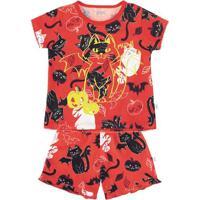 Pijama Bebê Menina Em Malha De Algodão Com Estampa Que Brilha No Escuro Puc