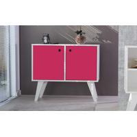 Armário Buffet Vintage 02 Portas Para Sala Rosa Pink Cristal 90X38,5X73 Cm