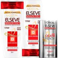 Kit Elseve Reparação Total 5+ L'Oréal Paris Shampoo + Condicionador + Cicatri Renov - Unissex-Incolor